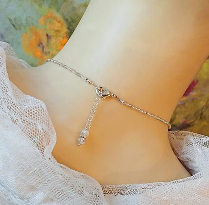 V1 - Collier pendentif pierre de quartz blanc rubassé (craquelé) et Cristal de Swarovski / Plaqué argent - Idéal pour mariage