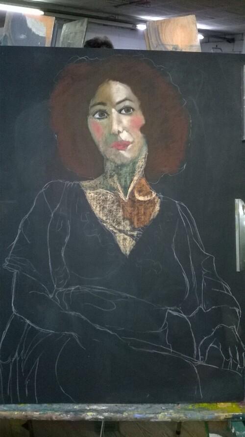 Mercredi- Portrait  de femme aux pastels secs (1)