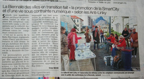Article du DL sur le rassemblement contre Linky et la smart city