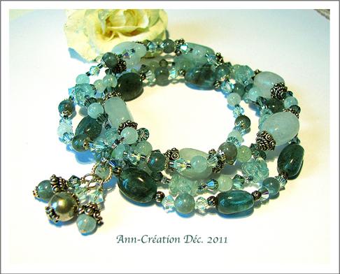 Bracelet Elastique 4 rangs Pierres : Aigue-Marine & Apatite Bleu-Vert Cristal Swarovski Argent 925