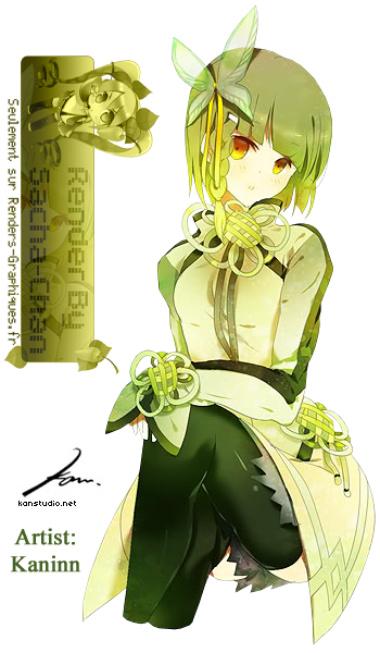 Render Filles/Femmes - Renders Fille cheveux vert papillon tresse jupe Kaninn Kanstudio Kan By Sacha Chan