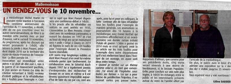 10 Novembre 2011: INVITATION à la Médiathèque de Mallemoisson