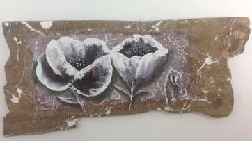Nouveau petit tableau Bois Flotté coquelicots