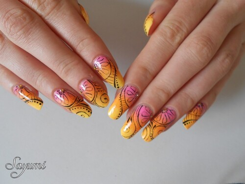 Nail Art Summer Sunset Mandala