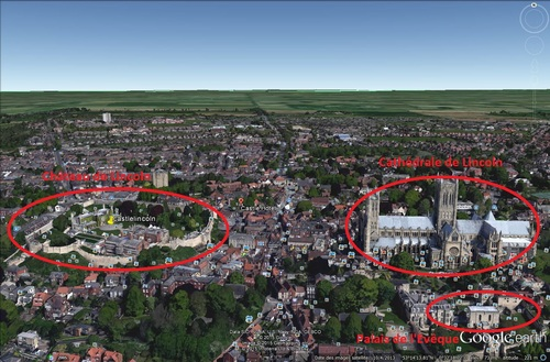 Le château et la Cathédrale de Lincoln, Angleterre. (Photo Google Earth)