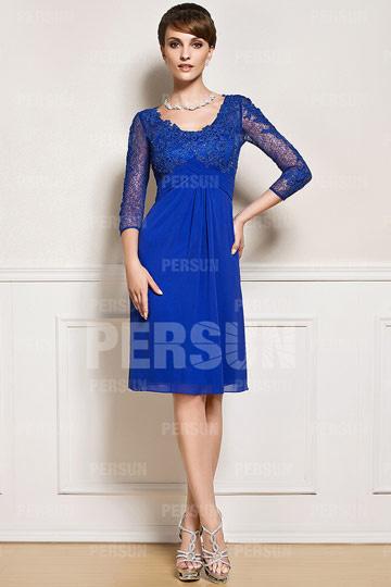 Chic robe pour mère du marié en dentelle avec col V & empire