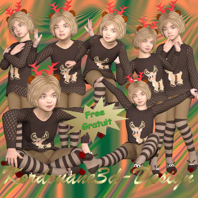 Petit renne de Noël (fillette-tube)