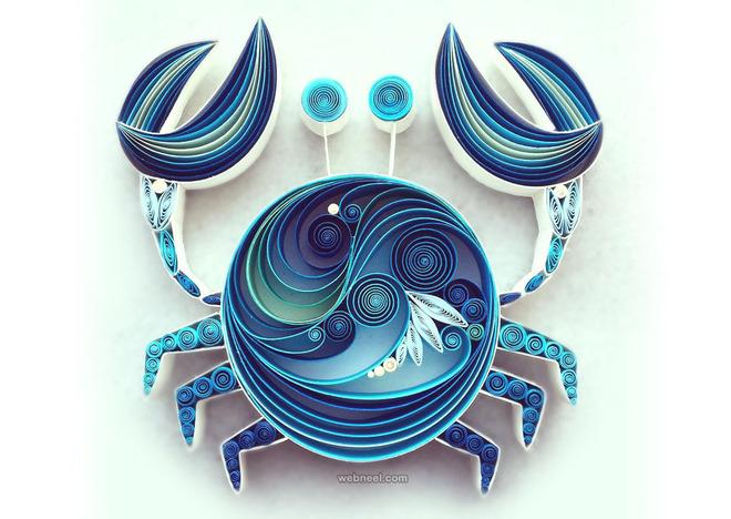 crab quilling art