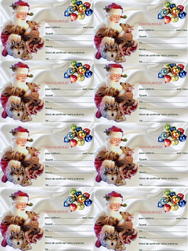 Cartes d'invitation de Noël création minouchapassion