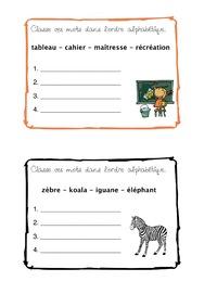 Classement ordre alphabétique