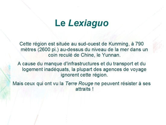 CHINE TERRE ROUGE Lexiaguo