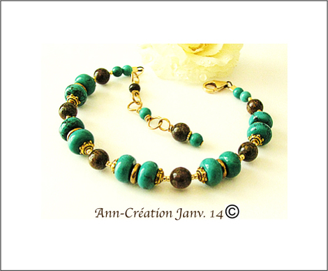 Bracelet Turquoise Bronzite N° 1 - Plaqué Or 14 kt Gold Filled & Laiton
