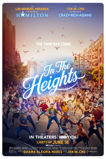 In The Heights - People in a mob dancing on the streets with logo text overlay
