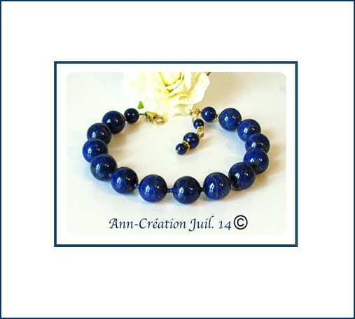 Bracelet Lapis-Lazuli naturel perles 10mm / Plaqué Or 14 kt Gold Filled