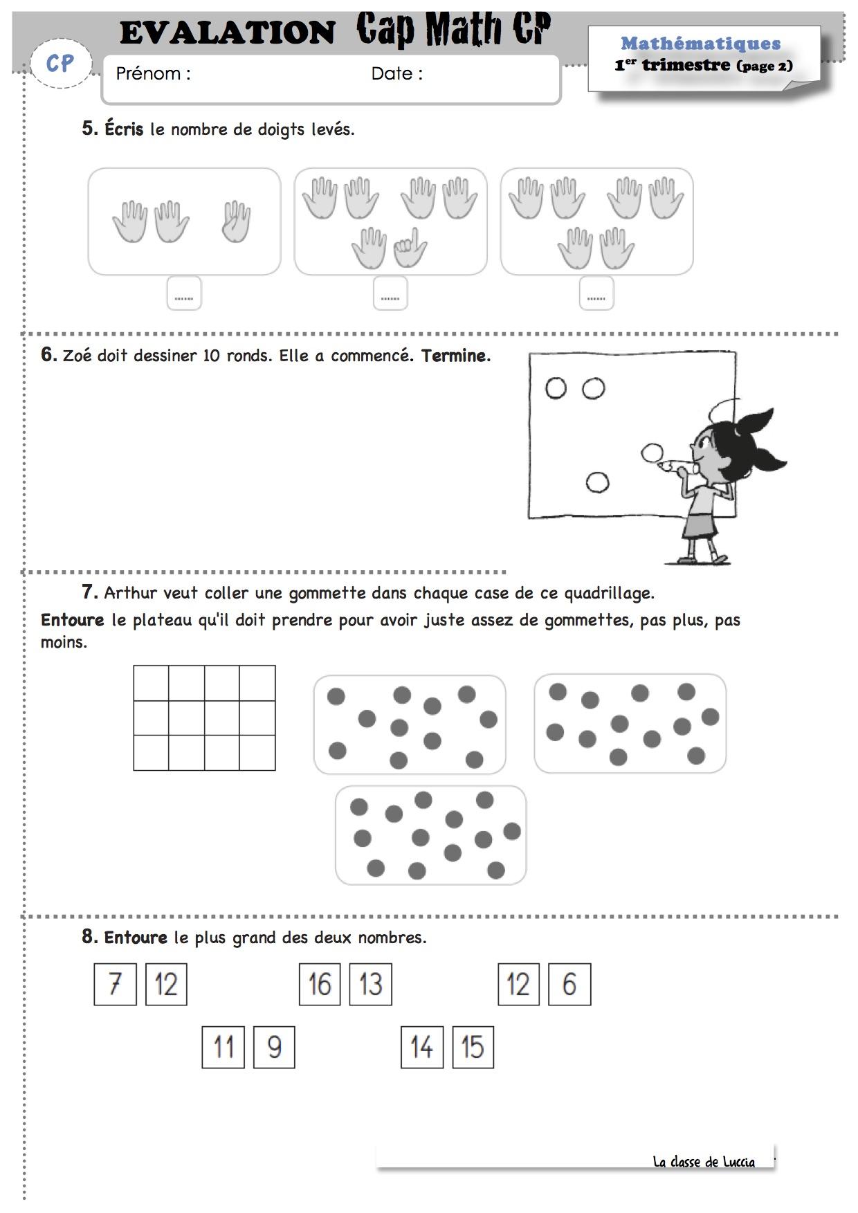 Evaluation Math 1er trimestre | La classe de Luccia ...