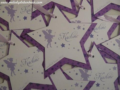 Faire part étoiles fée baptême fille blanc et violet