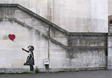 "Banksy, ""There is always hope"" (Londres - 2007)"
