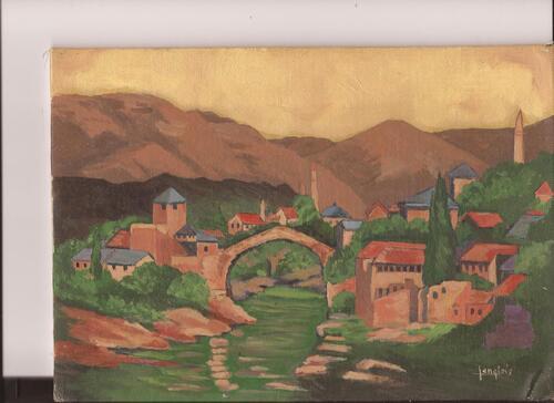 Le pont de Mostar (huile)