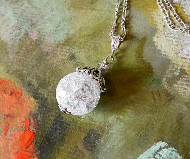 Pendentif Pierre de quartz craquelé blanc boule 16 mm / argent 925 et plaqué argent