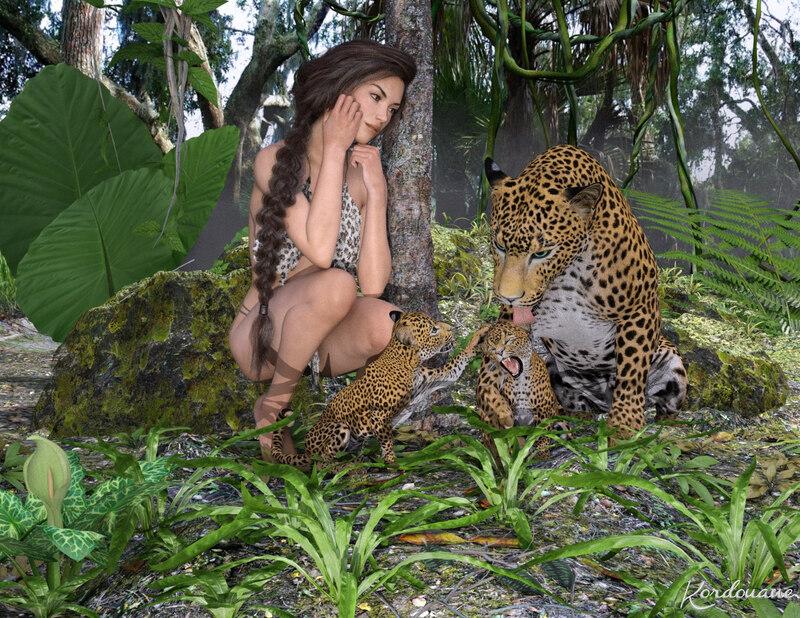 Fond d'écran : L'amour maternel dans la jungle