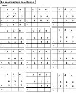 technique opératoire de la soustraction en colonne