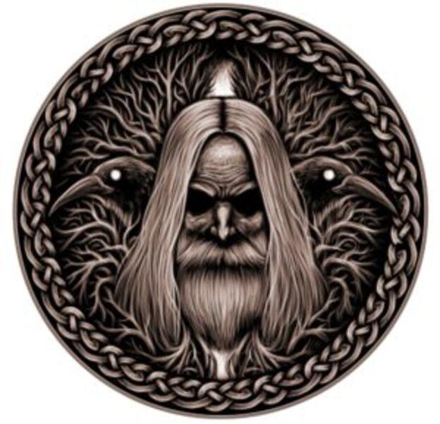 Odin, et ses deux corbeaux Huginn et Muninn