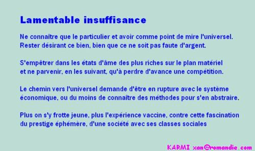 Karmi - Lamentable insuffisance