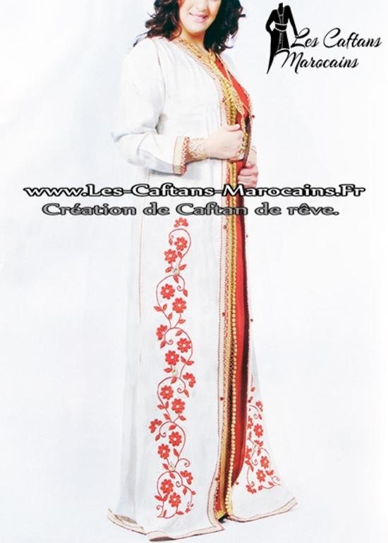 Takchita-marocaine-blanc-et-rouge-en ligne à  petit prix de la collection 2015 TAK-S938