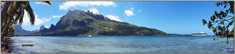 Panorama sur la baie de Cook avec le Rotu'i et à gauche le Mou'a Roa et l'amorce du Tohi'e'a - Moorea - Polynésie française