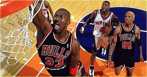 New York Knicks vs. Chicago Bulls - 8 mars 1998 - MJ wears AJ I
