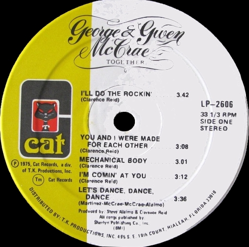 "George & Gwen McCrae : Album "" Together "" Cat Records LP-2606 [ US ]"