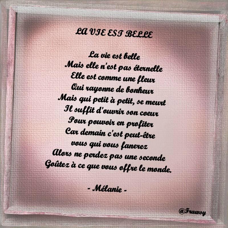 Poème Damour La Vie Est Belle Frawsy