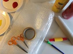 Peinture au papier à bulles