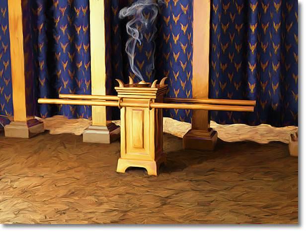 L'autel de l'encens se trouvait dans le lieu saint, devant l'entrée du Saint des Saints.