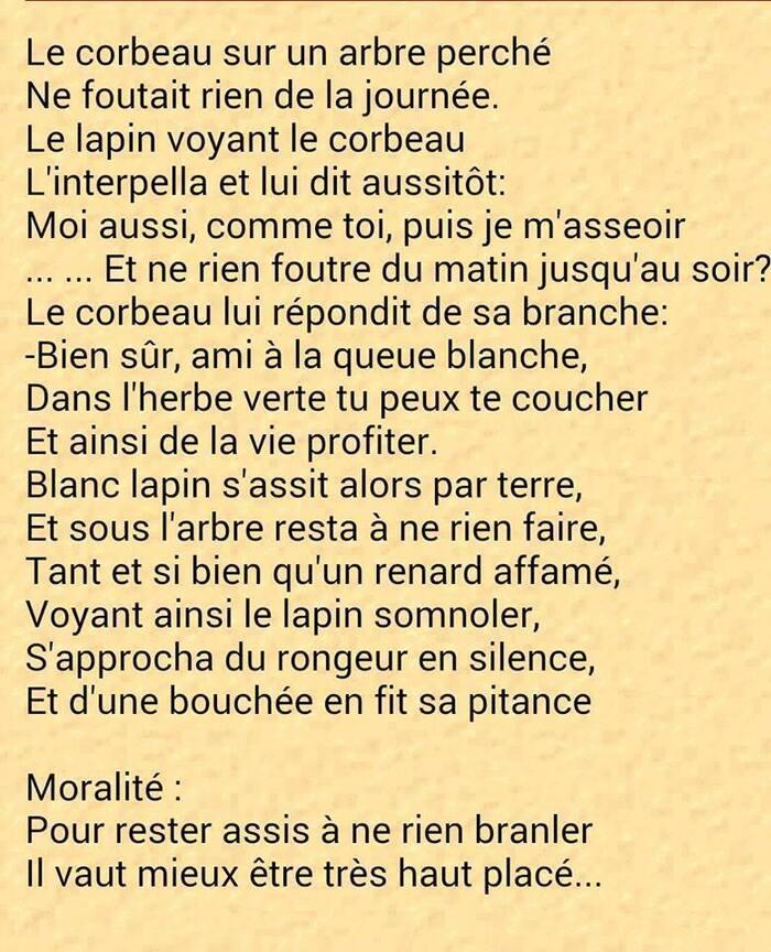 Fable De Lafontaine ( Retravaillée).