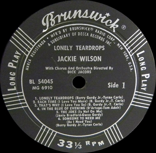 "Jackie Wilson : Album "" Lonely Teardrops "" Brunswick Records BL 54045 [ US ]"