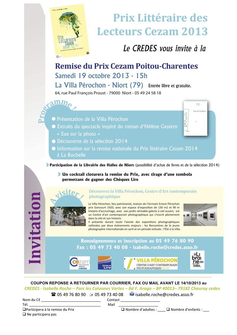 Remise du prix Poitou-Charentes des lecteurs Cezam