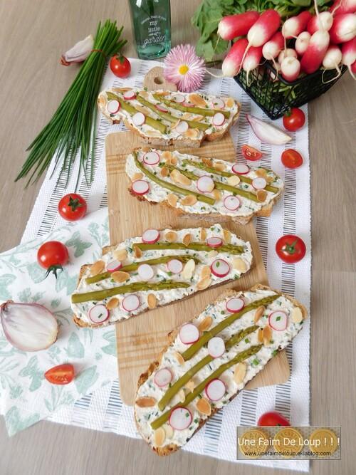 Tartine gourmande aux asperges