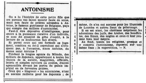 Antoinisme (Le Petit Provençal, 7 août 1912)