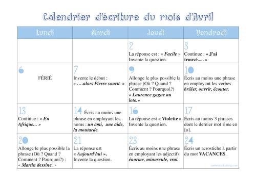 Calendriers d'écriture CP- CE1 avril 2015