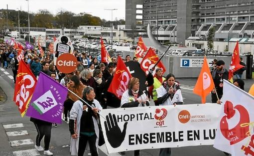 Quimper. Centre hospitalier : plus de 500 agents dans la rue (LT.fr-14/11/19-16h05)