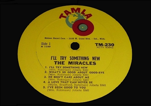 "The Miracles : Album "" I'll Try Something New "" Tamla Records TM 230 [ US ]"