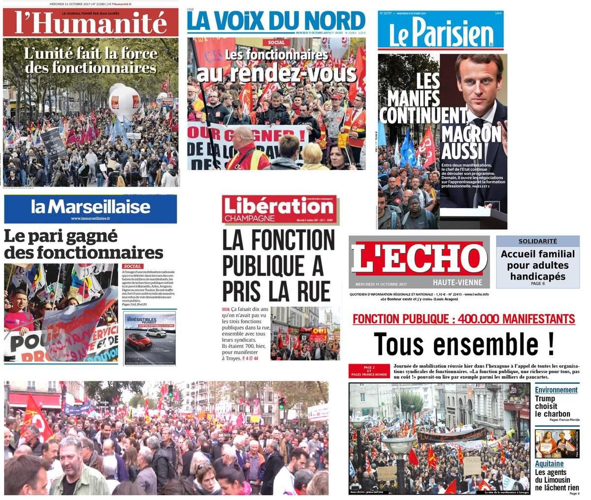 FONCTION PUBLIQUE : Quoique que dise Macron, la mobilisation du 10 octobre est une réussite . Elle ne doit pas rester sans lendemains