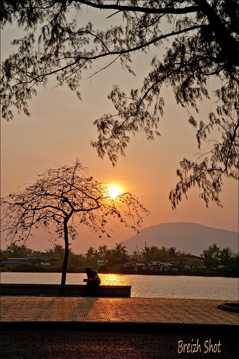 coucher de soleil - Kampot