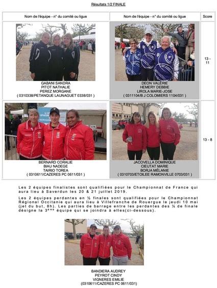 Championnat H.G Triplette Féminine.
