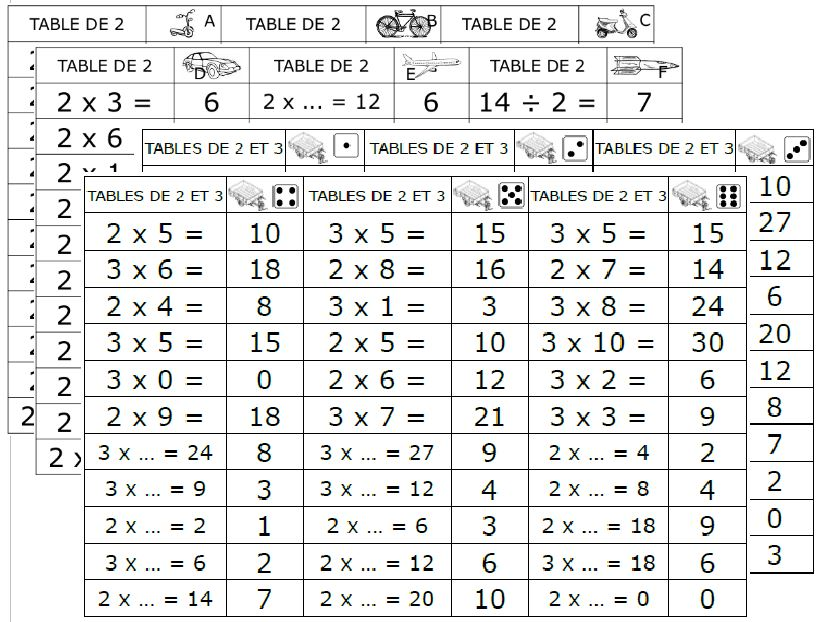 Permis de multiplier le mat riel spalanzani for Table de multiplication 7 et 8