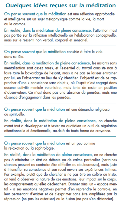 L'activité de certaines aires cérébrales est renforcée par la pratique de la méditation de pleine conscience : le cortex préfrontal gauche associé aux émotions positives ; le cortex cingulaire antérieur impliqué dans la perception des sensations corporelles, notamment de la douleur ; le cortex fronto-pariétal et l'insula, impliquée dans l'intéroception, ou perception des sensations internes. En revanche, l'activité des aires du langage (aire du Broca et aire de Wernicke) diminue.