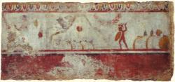 La bataille des Fourches Caudines Soldats samnites. Fresque lucanienne, Paestum, vers 320 av. J.-C..j