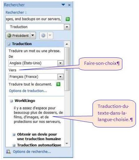 WORD 2007 - TRADUCTION D'UN TEXTE