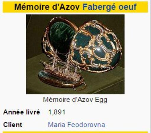 **  FABERGE   &    des SOUVENIRS de la TSARINE.**
